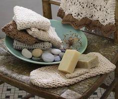 Bath Collection - Vanilla Grit Stitch Washcloth Collection includes the Vanilla Grit Stitch Washcloth, the Almond Back Loop Stitch Washcloth, the Bark Sedge Stitch Washcloth, the Cypress Double Crochet Washcloth and the Almond Double Crochet Bath Mitt. free pdf from LionBrand