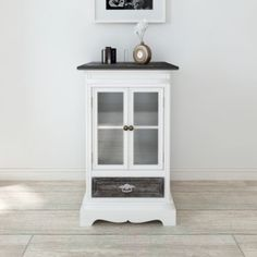 White Small Cabinet 2 Doors 1 Drawer Wood Glass Furniture Living Room Chic NEW    Grab this Cheap Opportunity. At Luxury Home Brands WE always Find Great Stuff for you :)
