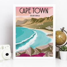 Cape Town South Africa Vintage Travel Poster Prints Beach Landscape Art Canvas Painting Wall Picture Home Decor Traveler Gift Beach Landscape, Landscape Art, Canvas Wall Art, Wall Art Prints, Poster Prints, Cape Town South Africa, Bathroom Wall Art, Vintage Travel Posters, Vintage Wall Art
