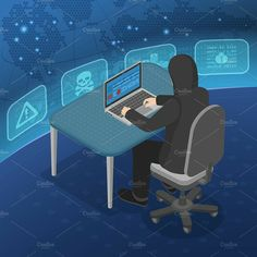 5 Themes Cyber Crime with Hacker with Flat Isometric Icons, Banners, Landing page template, Concepts and Infographics. Vector Illustration Template for Web, Page Template, Templates, Traffic Analysis, Web Security, Windows Operating Systems, Web Application, User Interface, Vulnerability