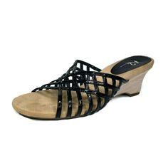 3377c8912034 A2 Aerosoles Low Wedge Sandals Women Size 10 Faux Black Patent Open Back  Soft  Aerosoles