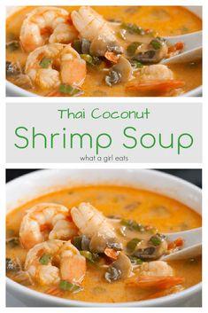 Best Soup Recipes, Best Gluten Free Recipes, Diet Recipes, Vegetarian Recipes, Thai Coconut, Coconut Shrimp, Shrimp And Vegetables, Shrimp Soup, World's Best Food