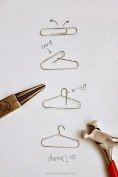 how to make a mini clothes hanger (for decorations on cards, etc.) from a paper clip! Use large paper clips to make hangers for barbie clothes! Fun Crafts, Diy And Crafts, Arts And Crafts, Paper Crafts, Diy Paper, Paper Clips Diy, Paper Clip Art, Gold Paper, Doll Crafts