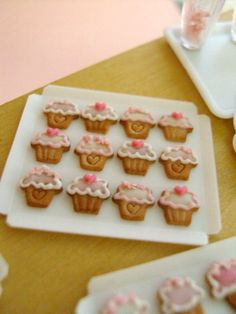 Miniature Cookies  Cupcake Heart Designs  12 pcs  1/12 by snowfern