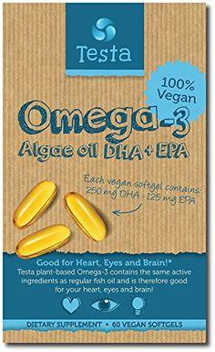 Plant based DHA + EPA from Algae oil - Pure and Vegan - Testa Omega 3 - 60 capsules Omega 3 Supplements, Nutritional Supplements, Weight Loss Supplements, Vitamin E, Omega 3 Capsules, Keto Approved Foods, Omega Oils, High Fat Foods, Hcg Diet