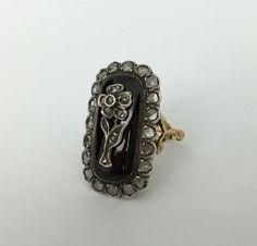 Victorian Forget-Me-Not Mourning Ring - Rose Cut Diamonds & Enamel in 18K