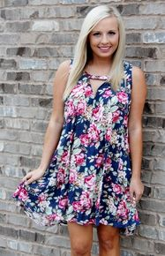 Navy and Pink floral print dress Amour Boutique
