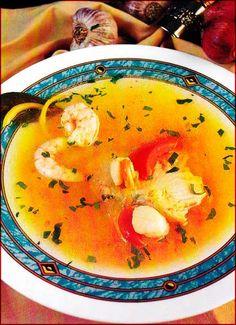 Sopa boullabesa de pescados y mariscos: Ingredientes • 1 1/2 kg. de pescado, limpio • 1 docena de langostinos o camarones, limpios y pelados • 1 docena de