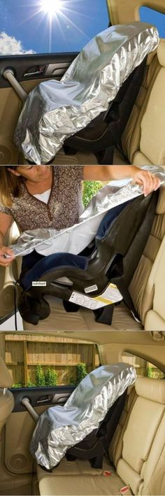 Summer heat is coming, and what better way to protect your baby from your hot car? Mommy's Helper makes a reflective car seat cover that will keep baby's seat an average of 25 degrees cooler than the inside of your car! Simply stretch the sun shade cover over the seat, and store between uses in its convenient pouch!