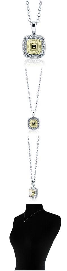 Sterling Silver Asscher CZ Halo Fashion Necklace