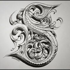 The letter S, ink and gouache on paper, by Aaron Horkey. Tattoo Lettering Fonts, Types Of Lettering, Graffiti Lettering, Lettering Styles, Lettering Design, Calligraphy Alphabet, Calligraphy Fonts, Typography Letters, Caligraphy