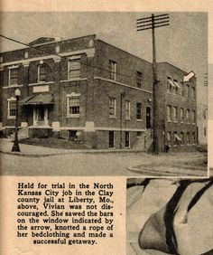 Page from Startling Detective showing the Clay County Missouri jail where Vivian escaped by sawing through the bars and using bed sheets (no joke)