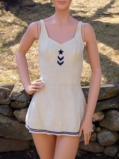 Vintage Early 1940's Sailor Inspired Nautical Jantzen Bathing Suit. $175.00, via Etsy.