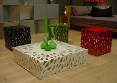 Bushes is a metal table with a beautifully laser-cut motif from Thai design firm Anyroom.