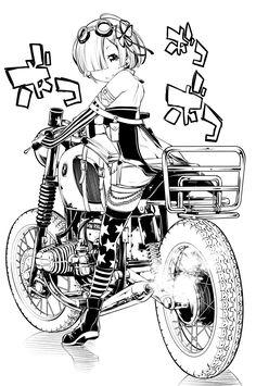 Re:zero Rem art Manga Anime, Manga Art, Ink Illustrations, Illustration Art, Anime Motorcycle, Tracing Art, Damier, Anime Kunst, Re Zero
