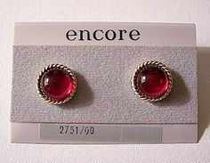 Red Jelly Button Pierced Earrings Gold Tone Vintage Swirl Ribbed Edge Clear Lucite Half Domed Bead
