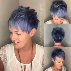 "1,220 Likes, 21 Comments - Arizona Hairstylist (@emilyandersonstyling) on Instagram: ""Blue Denim Pixie @kenraprofessional metallics giving me the blue vibes. #guytangfavorites…"""
