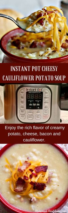 INSTANT POT CHEESY CAULIFLOWER POTATO SOUP. easy one pot dinner made in your Instant Pot. Enjoy the rich flavor of creamy potato, cheese and bacon with cauliflower to add nutritious fiber and reduce calories!