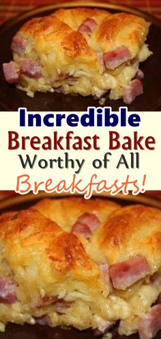 Incredible Breakfast Bake – Worthy of All Breakfasts! A simple but delicious breakfast casserole made with eggs, biscuits, cheddar cheese and ham or sausage. Don't forget to Pin this so it will be SAVED to your timeline! What's For Breakfast, Christmas Breakfast, Breakfast Items, Breakfast Dishes, Breakfast Recipes, Breakfast Casserole With Ham, Breakfast Egg Bake, Breakfast Sandwiches, Sausage Breakfast