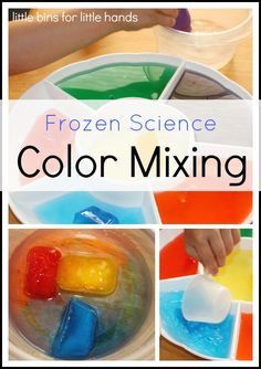 Frozen Color Mixing Science Activity LL Preschool ideas Frozen Color Mixing Science Samstag Wissensc Science Experiments For Preschoolers, Kids Learning Activities, Color Activities, Science For Kids, Fun Learning, Preschool Activities, Science Fun, Summer Science, Chemistry Experiments