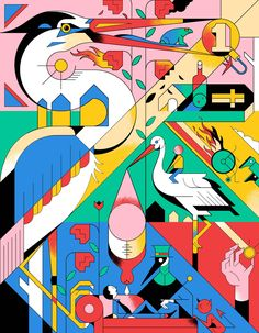 ' The Dutch Welfare State ' illustration. Lots to discover here. Art And Illustration, Illustrations And Posters, Graphic Design Illustration, Game Design, Design Art, Misaki Kawai, Pop Art, Illustrator, Bullen