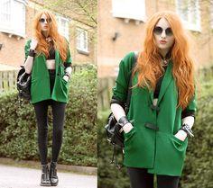 Romwe Coat, Romwe Crop Top, Minkpink Sunglasses, American Apparel Riding Pants, Dr. Martens Boots - Green. - Olivia Emily