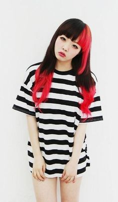 Women's HairCut Long w/Layers Staight Across Bangs  Women's HairColor Half Red/Black w/Ombre Black to Red