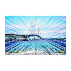 Mackinac Bridge Abstract Wrapped Canvas
