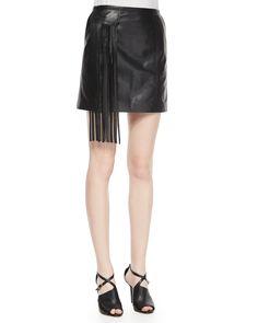 Lambskin Leather Mini Skirt W/ Fringe Pocket, Women's, Size: 4, Black - Tamara Mellon