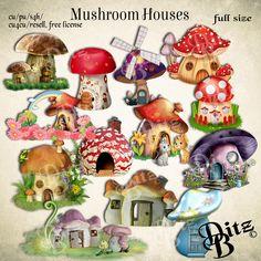 fantasy mushroom houses, transparent png imges