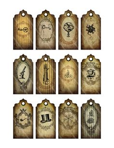 Grunge Steampunk Tags Labels printable craft by VectoriaDesigns