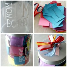 Mom I'm Bored Jar- Whenever your kids complain that they are bored pull out a pre-written card! Write both fun and not so fun (cleaning) activities on the cards. It is up to your kids if the complaint is worth the risk of getting a chore! Either way, their boredom will be solved!