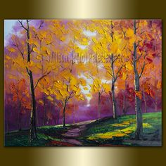 Original Textured Palette Knife Landscape Painting Oil on Canvas Contemporary Modern Art 16X20 by Willson.