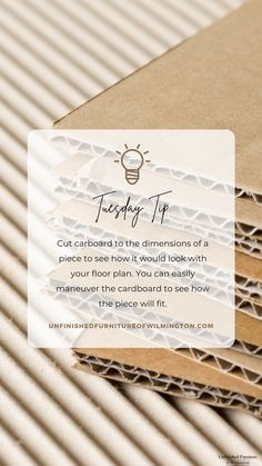 TUESDAY TIP: Cardboard 📦 Cut cardboard to the dimensions of a piece of furniture you're looking at to see how it will look in different spaces. You can easily move the cardboard around to gain insight on how the piece will function in your space. Like and follow for more tips! #TuesdayTip #Furniture #Wood #DIY #UnfinishedFurnitureofWilmington Unfinished Furniture, Gain, Tuesday, Insight, Web Design, Spaces, How To Plan, Wood, Tips