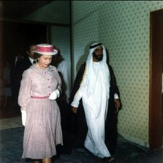 11/24/1979 ..... rare picture during a visit by Britain's Queen to Abu Dhabi