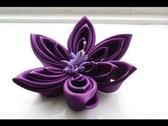 КАНЗАШИ ЦВЕТОК. КАНЗАШИ ЦВЕТОК своими руками. Kanzashi flower. How to Make Kanzashi flower. - YouTube