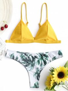 b37401e8bc Swimsuits · Up to 80% OFF! Padded Bikini Top With Palm Leaf Bottoms. #Zaful