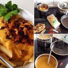 So. Dann gibt es halt Nudeln mit einer Soße aus Kartoffeln Karotte und Sojamilch :-) #kochenohneknochen #kochenmachtspass #duesseldorf #bilk #urban