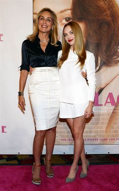 .Sharon Stone and Amanda Seyfried in Stella McCartney at Lovelace premiere