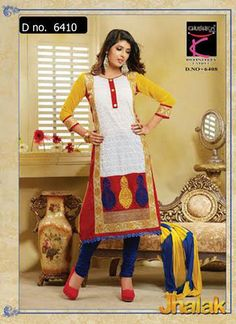Beautifully designed Chikan cotton Straight cut Salwar Suit with Georgette Sleeves and beautiful embroidery work done. Comes along with Matching Cotton Bottom and Chiffon Duppatta.