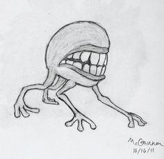 Easy scary drawings how to draw a scary skull real easy Creepy Sketches, Creepy Drawings, Cartoon Drawings Of People, Dark Art Drawings, Cool Drawings, Monster Sketch, Monster Drawing, Creepy Monster, Scary Monsters