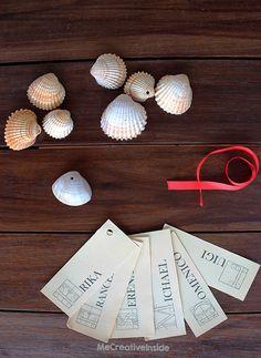tutorial diy segnaposto con conchiglia occorrente  placeholder with shell