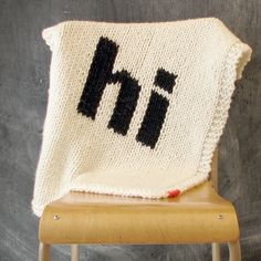 """This is a baby blanket...but i'd like it for me! It's adorable Knitted Helvetica """"Hi"""" Baby Blanket for Bassinet, Stroller, Car Seat, or lap"""