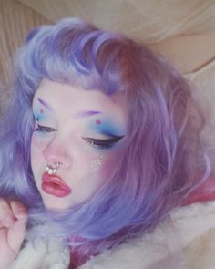 "glittertomb: "" porcelainette: ""Kawaii clown queen ♡ lavender hair dream. "" gorgie"