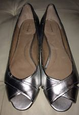 Lands End Silver Ballet Flats 8 Open Toe Leather Womens Nwot