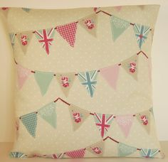 """Fryetts Shabby Chic Union Jack Bunting Duck Egg and Pink 16""""  Cushion Cover #Fryetts #Cushioncover"""