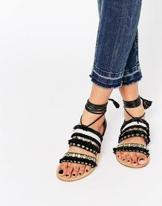 ASOS | ASOS FUNFAIR Tie Leg Flat Sandals at ASOS