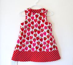 Strawberry Patch Girls Jumper Dress, Girls Dress, Strawberry Print, Polka Dot Trim, Toddler Dress