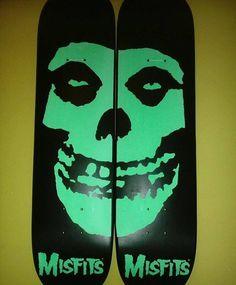 Misfits skateboard decks Vans Skateboard, Skateboard Design, Skateboard Decks, Danzig Misfits, Skate And Destroy, Indie Room, Skate Art, Skate Decks, Snowboards