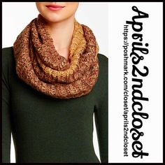 """TAHARI CHUNKY KNIT SCARF Long Cowl Neck 💟 NEW WITH TAGS 💟 Elie TAHARI CHUNKY Infinity KNIT SCARF          Retail Price: $50   * Super soft chunky crochet rib knit fabric  * Multicolor pattern     * About 63"""" inner cir. & 10"""" wide  * Lightweight for most seasons Fabric: 100% Super soft acrylic.       Color: Taupe & Brown    Item: CHUNKY Crochet KNIT SCARF Long Cowl Infinity Neck 🚫No Trades🚫 ✅Offers Considered*✅  *Please use the blue 'offer' button to submit an offer. Elie Tahari…"""